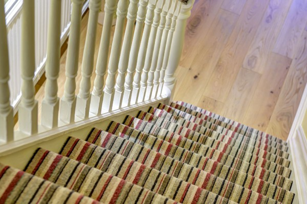 top view of pattern carpet on stairs