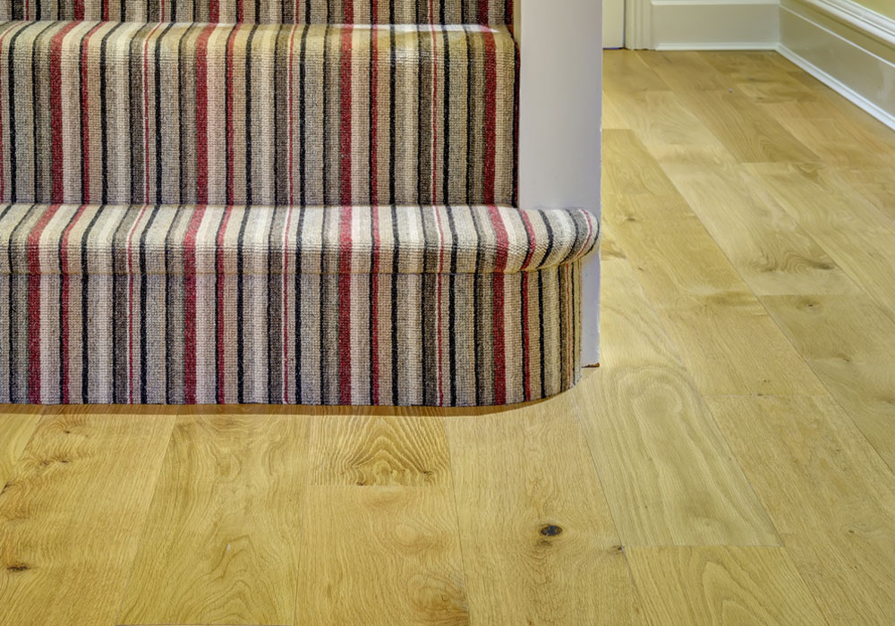 bottom step with pattern carpet on stairs