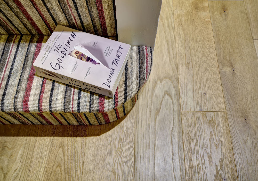 pattern carpet on stairs and book on bottom step