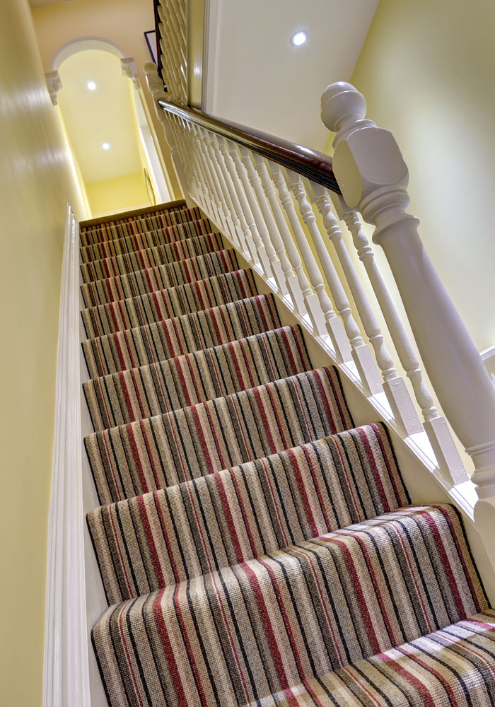 Top View of Striped Stair Carpet and Hallway Flooring - Harts Carpets and Flooring